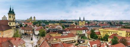 Panorama della città di Eger Fotografia Stock
