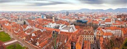 Panorama della città di Graz Fotografie Stock Libere da Diritti