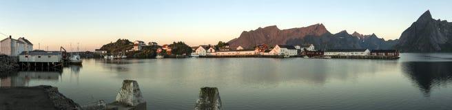 Panorama della città di Hamnoy sulle isole di Lofoten Immagine Stock