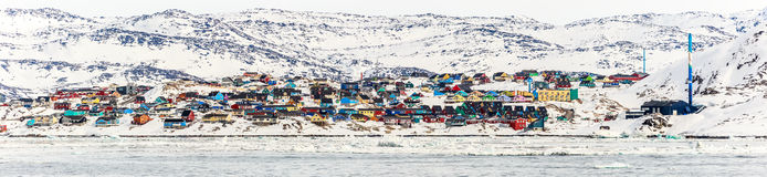 Panorama della città di Ilulissat Fotografia Stock Libera da Diritti