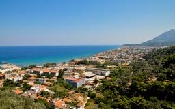 Panorama della città di Karlovasi, Samos, Grecia Fotografia Stock Libera da Diritti
