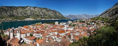 Panorama della città di Kotor Immagini Stock Libere da Diritti