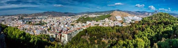 Panorama della città di Malaga Fotografia Stock Libera da Diritti