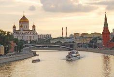 Panorama della città di Mosca alla sera Fotografie Stock Libere da Diritti
