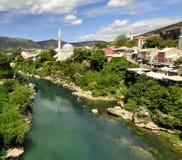 Panorama della città di Mostar Immagini Stock