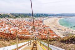 Panorama della città di Nazare nel Portogallo Immagini Stock Libere da Diritti