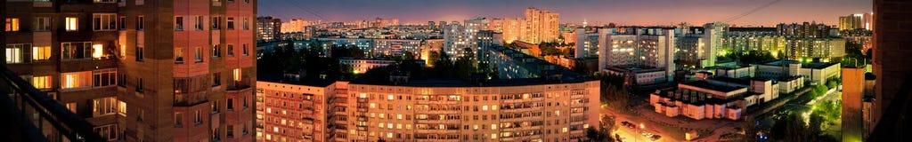 Panorama della città di notte Fotografia Stock Libera da Diritti