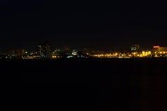 Panorama della città di notte Fotografie Stock