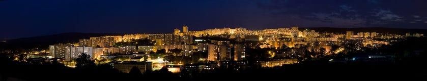 Panorama della città di notte - Bratislava Fotografia Stock Libera da Diritti