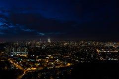 Panorama della città di notte, Kuala Lumpur, Malesia Fotografia Stock