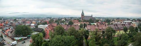 Panorama della città di Nowy Targ fotografia stock