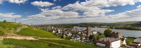 Panorama della città di Ruedesheim Immagine Stock Libera da Diritti