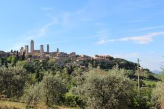 Panorama della città di San Gimignano immagini stock