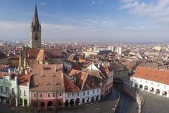 Panorama della città di Sibiu fotografia stock libera da diritti