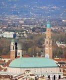 Panorama della città di Vicenza con la basilica Immagine Stock Libera da Diritti