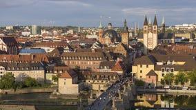 Panorama della città di Wurzburg Fotografie Stock