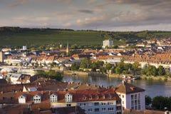 Panorama della città di Wurzburg Fotografia Stock Libera da Diritti