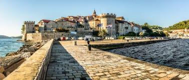 Panorama della città Korcula, Croazia Fotografia Stock