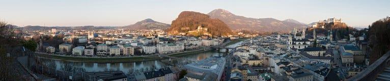 Panorama della città storica di Salisburgo, Austria Fotografia Stock