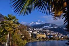 panorama della città sul lago geneva Fotografia Stock Libera da Diritti