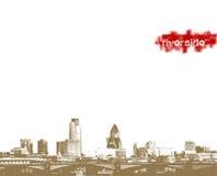 Panorama della città sulla riva del fiume. Immagine Stock