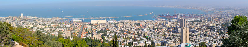 Panorama della città di Haifa. L'Israele Fotografia Stock Libera da Diritti