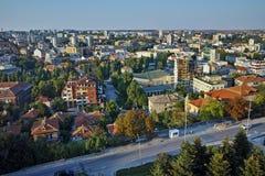 Panorama della città di Haskovo dal monumento di vergine Maria, Bulgaria Fotografia Stock