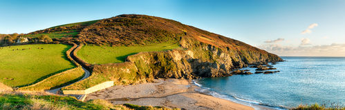 Panorama della costa di Cornsih Fotografia Stock Libera da Diritti