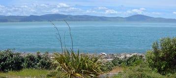Panorama della costa di Kapiti compreso Waikanae & Paraparaumu Fotografia Stock