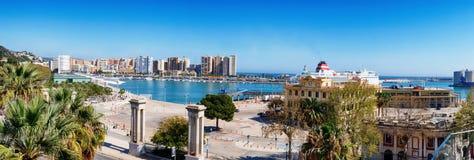 Panorama della costa di mare di Malaga, centro Immagine Stock