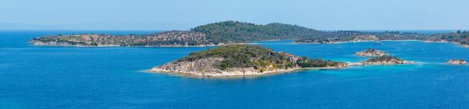 Panorama della costa di Sithonia, Chalkidiki, Grecia Fotografia Stock Libera da Diritti