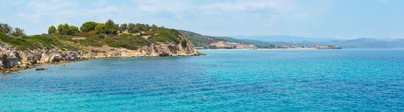 Panorama della costa di Sithonia, Grecia Immagine Stock