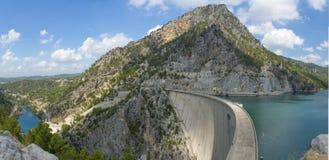 Panorama della diga di Oymapinar Fotografia Stock