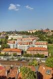 Panorama della foto di HDR di paesaggio urbano di Praga e fiume della Moldava in sole di pomeriggio, repubblica Ceca Foto presa a fotografia stock libera da diritti