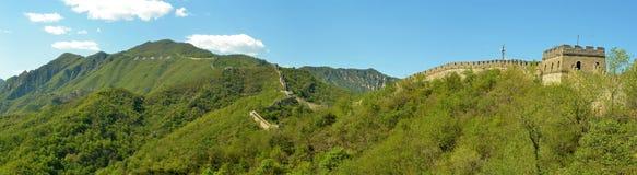 Panorama della grande muraglia Fotografie Stock