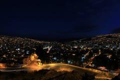 Panorama della La Paz, Bolivia di notte Fotografia Stock