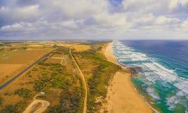 Panorama della linea costiera e di Bass Highway dell'oceano Fotografia Stock Libera da Diritti