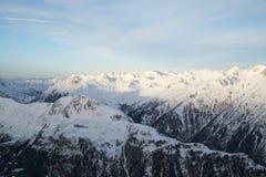 Panorama della mattina di inverno delle alpi, Ischgl, Austria Immagini Stock Libere da Diritti