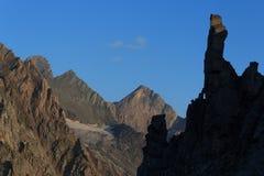 Panorama della montagna ad alba, alpi di Hohe Tauern, Austria Fotografia Stock