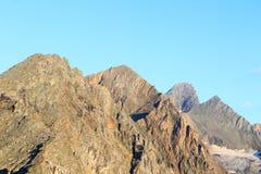 Panorama della montagna ad alba, alpi di Hohe Tauern, Austria Fotografie Stock Libere da Diritti