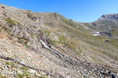 Panorama della montagna con il passo Lobbentorl, alpi di Hohe Tauern, Austria Fotografie Stock