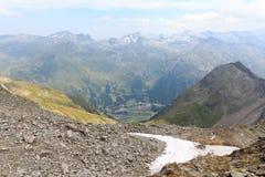 Panorama della montagna con la via di Felbertauern, alpi di Hohe Tauern, Austria Fotografie Stock Libere da Diritti