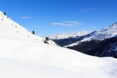 Panorama della montagna con neve, gli alberi ed il cielo blu nell'inverno nelle alpi di Stubai Fotografie Stock