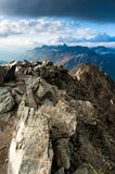 Panorama della montagna da Mont Pers Fotografie Stock