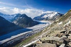 Panorama della montagna del ghiacciaio di Aletsch Fotografia Stock