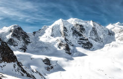 Panorama della montagna delle alpi Piz Palu di Rhaetian Fotografie Stock