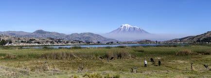 Panorama della montagna di Chimborazo nell'Ecuador immagine stock libera da diritti