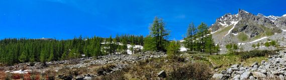 Panorama della montagna di estate Alpe Devero Immagine Stock