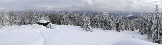 Panorama della montagna di inverno con un cottage Fotografia Stock Libera da Diritti