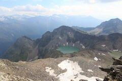 Panorama della montagna e lago Wildensee, alpi di Hohe Tauern, Austria Fotografie Stock